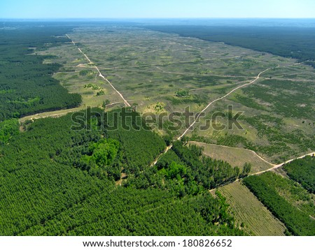 Deforestation. (Aerial view). - stock photo