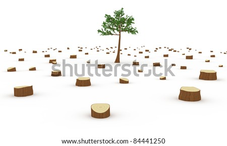Deforestation concept - stock photo