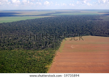 Deforestation in Brazil, aerial view of a large soy field eating into the tropical rainforest - stock photo