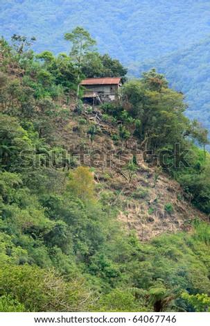 Deforestation marks near city of Banos, Ecuador - stock photo
