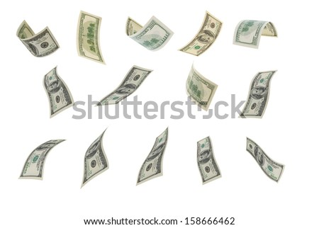 Deformed hundred-dollar bills on a white background.