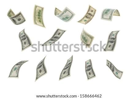 Deformed hundred-dollar bills on a white background. - stock photo
