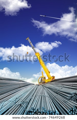 deformed steel bar and sky - stock photo