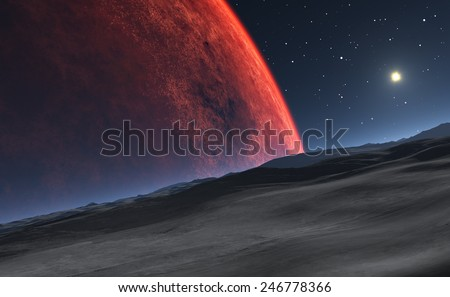 Deimos with the red planet Mars in the background - stock photo