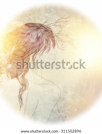 deity of forest - fantastic picture with young girl with branches in her hair - poster, fantastic cover design of book or music CD