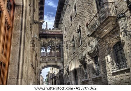 Del Bisbe street in the Barri Gotic historical area of Barcelona, Spain - stock photo