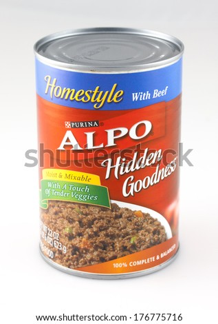DeLand, FL, USA - February 13, 2014: A can of Alpo brand dog food.  A popular brand of canned food for pets. - stock photo