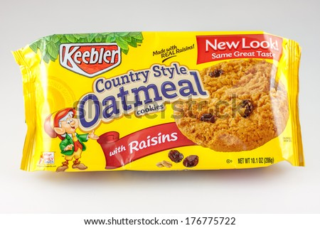 DeLand, FL, USA - February 13, 2014: A package of Keebler oatmeal cookies.  A popular brand of cookies.  - stock photo