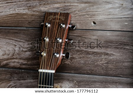 DeLand, FL, USA - February 17, 2014: Martin guitar is one of the oldest family owned businesses in America, established in 1833 and remains one of the most popular brands of acoustic instruments. - stock photo