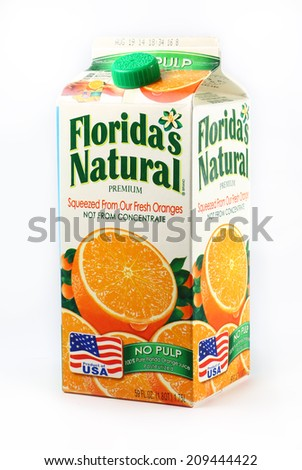 DeLand, FL, USA - July 24, 2014:  Florida's Natural is a very popular brand of fresh squeezed orange juice.   - stock photo