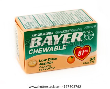 DeLand, FL, USA - June 5, 2014: Bayer 81mg chewable aspirin is recommend for children or adults that have difficulty swallowing pills.  - stock photo