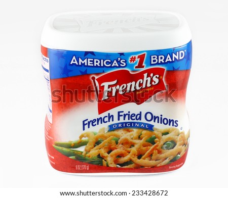 DeLand, FL, USA - November 25, 2014: French's French Fried Onions is the top selling topping for a string bean casserole usually served at Thanksgiving or Christmas. - stock photo
