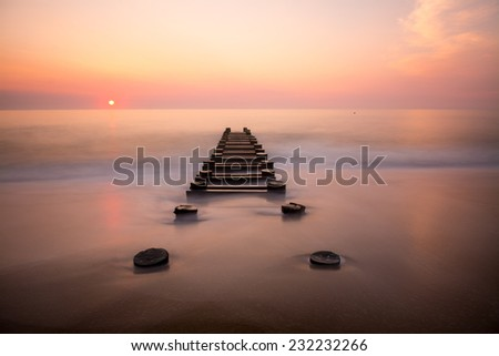 Delaware Beach Sunrise - stock photo
