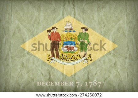 Delaware flag on paper texture,retro vintage style - stock photo