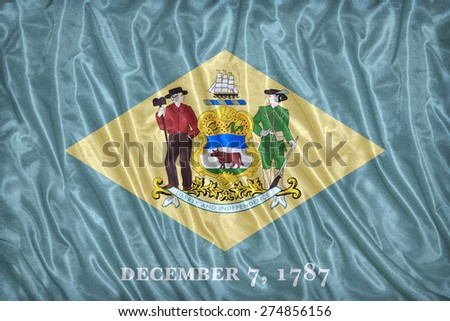 Delaware flag pattern on the fabric texture ,vintage style - stock photo