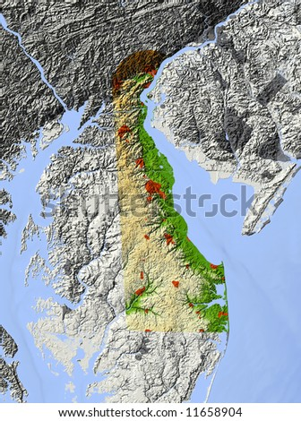 Delaware. Shaded relief map.  Surrounding territory greyed out. Shows major urban areas and rivers.  Colored according to relative elevation. Clipping path for state area included. - stock photo