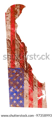 Delaware state of the United States of America in grunge flag pattern isolated on white background - stock photo