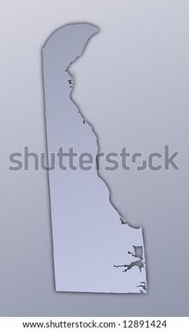 Delaware Map Black White Mercator Projection Stock Vector - Delaware usa map