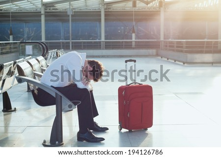 delayed flight - stock photo