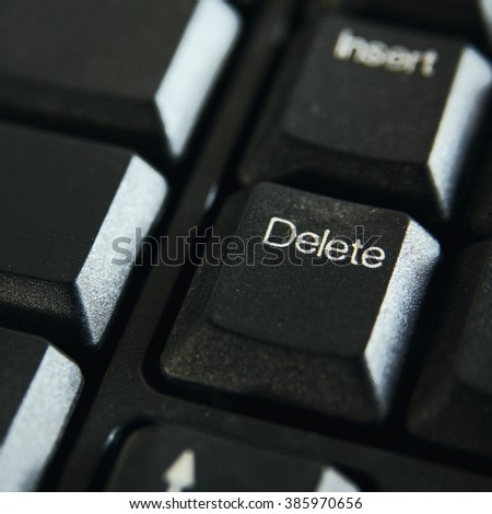 Delete button keyboard of computer - stock photo