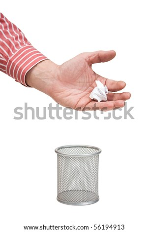 delete documents in basket isolated on a white background