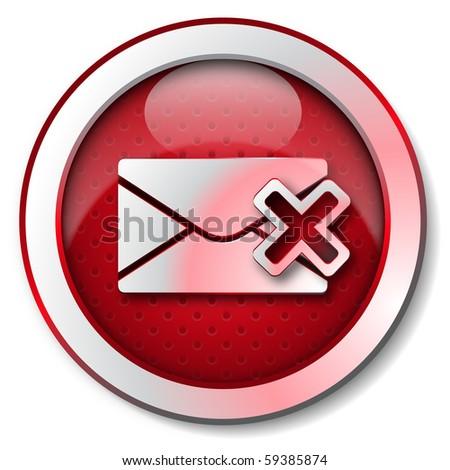 Delete e-mail icon - stock photo
