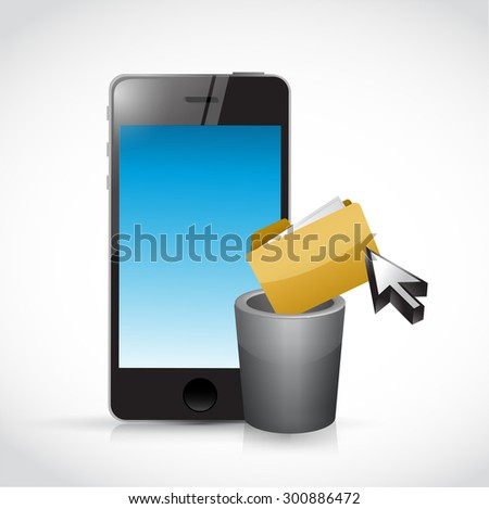 deleting content on a cell phone. illustration design graphic - stock photo