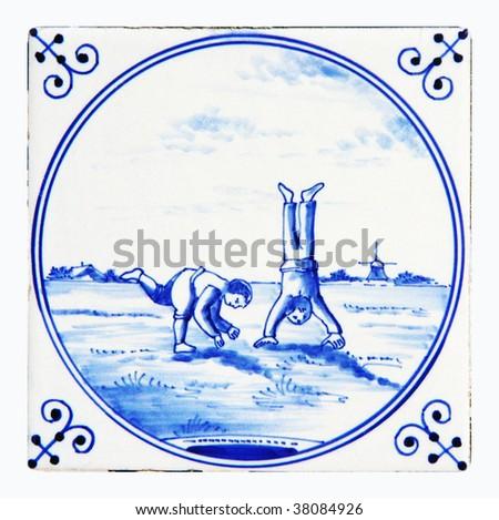 delft blue tile - stock photo