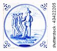 delft blue tile, soldiers - stock photo
