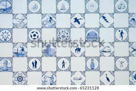 delft blue tiles as a wall of a modern building