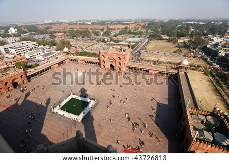 Delhi, India - 11 February. View of  Jama Masjid on 11 Feb, 2008. It is the largest and best-known mosque in India. - stock photo