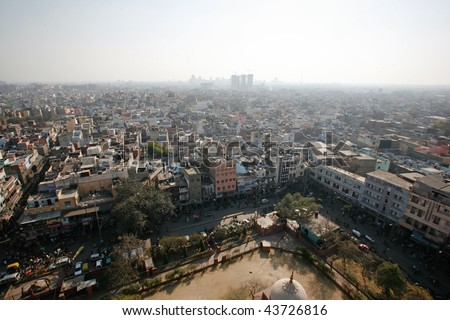 Delhi, India - 11 February. View of Old Delhi from Jama Masjid minaret on 11 Feb, 2008. An overly-built and populated capital has its affects on air pollution, especially during summer. - stock photo