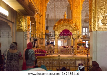 DELHI, INDIA - JAN 18, 2016: Interior of the Gurdwara Bangla Sahib, is the main Sikh temple in India. It's known for its association with the eighth Sikh Guru, Guru Har Krishan