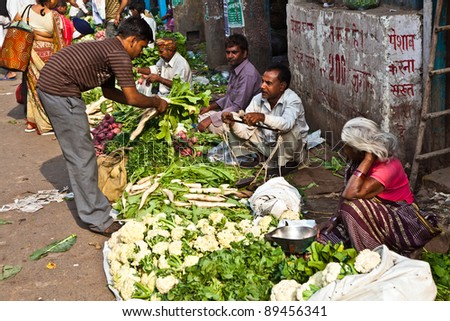 DELHI, INDIA - NOV 9: Chawri Bazar is a specialized wholesale market of food and vegetables on November 09, 2011 in Delhi, India. Established in 1840 it was the first wholesale market of Old Delhi. - stock photo