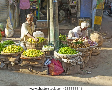 DELHI, INDIA - OCT 16: Chawri Bazar is a specialized wholesale market of food and vegetables on Oct 16, 2012 in Delhi, India. Established in 1840 it was the first wholesale market of Old Delhi. - stock photo