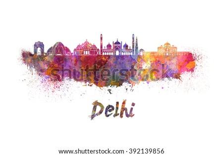 Delhi skyline in watercolor splatters  - stock photo