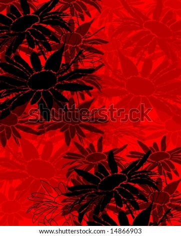 Delicate abstract floral background with stylized black daisy flowers on red