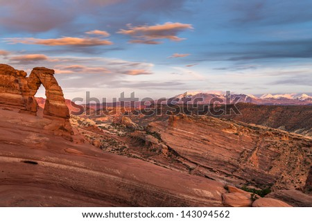 Delicate Arch against Beautiful Sunset Sky