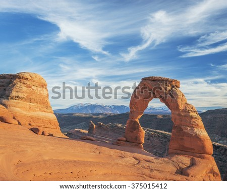 Delicate Arch at sunset in Arches National Park near Moab, Utah. - stock photo