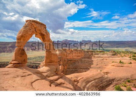 Delicate Arch - Delicate Arch in Arches National Park, Utah, USA - stock photo