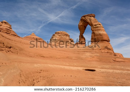 Delicate Arch in Arches National Park Utah  - stock photo