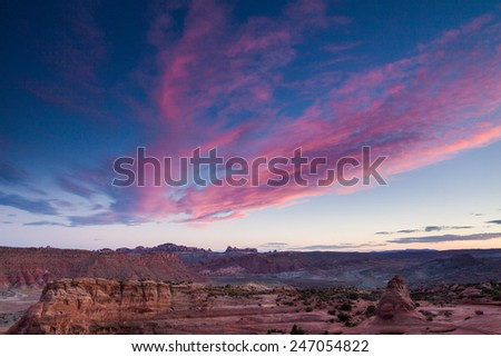 Delicate Arch sunset - stock photo