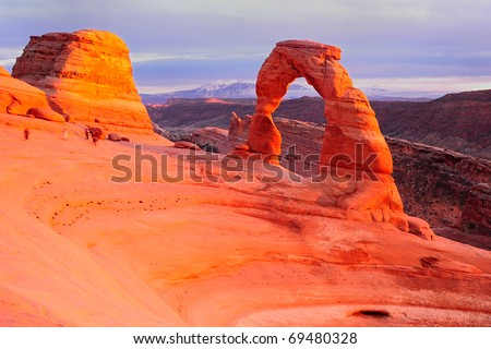 Delicate Arch Sunset, Arches National Park - stock photo