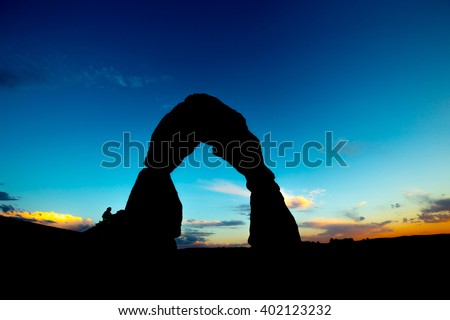 Delicate Arch Utah at Sunset  - stock photo