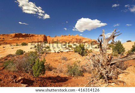 delicate arch viewpoint in arches national park, utah - stock photo