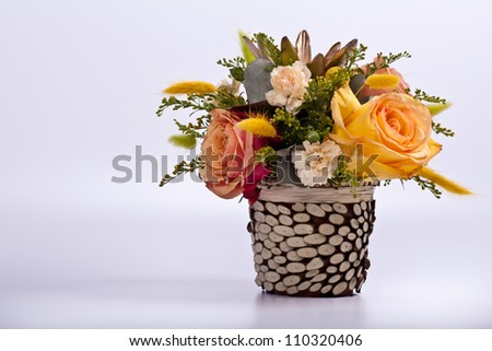 delicate bouquet of roses on a white background