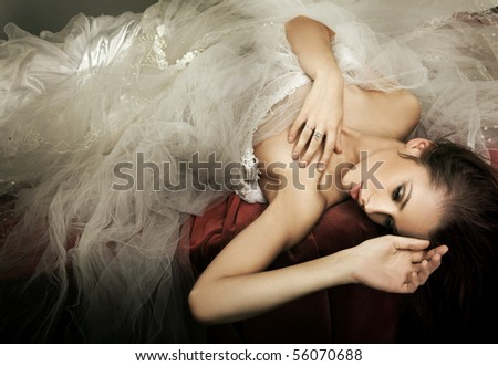 Delicate brunette posing - stock photo
