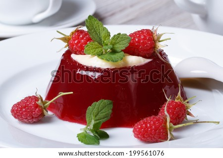 Delicate dessert raspberry jelly with mint and cream close up on a plate. horizontal  - stock photo