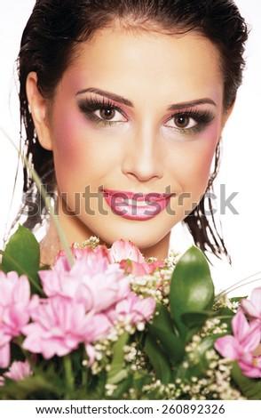 delicate elegant girl in a mask  - stock photo