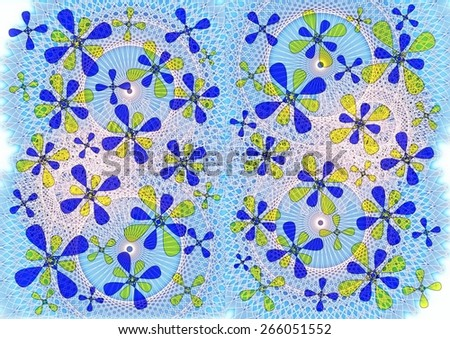 Delicate enchanting modern abstract   design with floral  geometric   motifs in  soft   colors superimposed  on a   lovely  blue   lacy    background suitable for chic  wallpapers and backgrounds. - stock photo